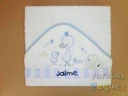 Capa de baño patito bordada azul