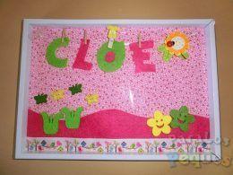 Cuadro flores bebe personalizado Cloe