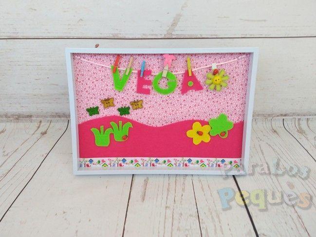 Cuadro flores bebe personalizado Vega