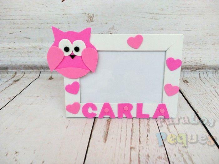 Marco fotos buho personalizado rosa bebe paralospeques