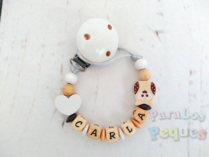 chupetero madera personalizado blanco recién nacido