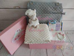 Canastilla bebe Bolso bordada rosa medio
