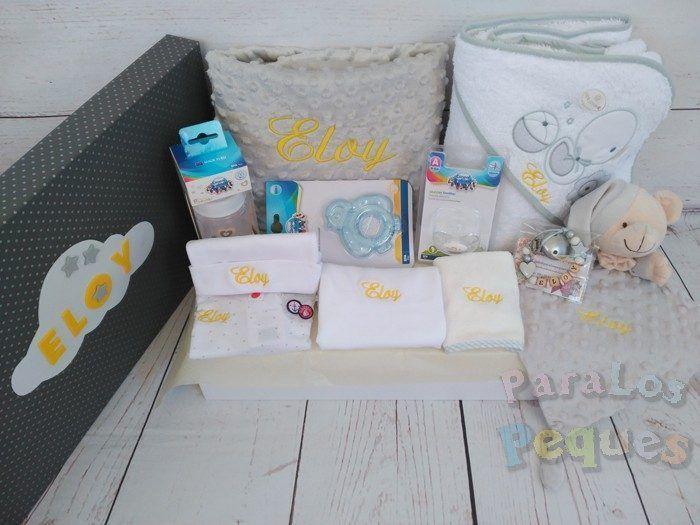 Canastilla bordada para recién nacido para el bebe gris bordada amarillo