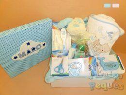 Canastilla bebé al agua patos azul en caja bordada