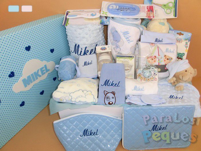 Cesta de bebe mega amor en azul