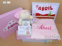 Canastilla para bebe rosa mimitos bordada