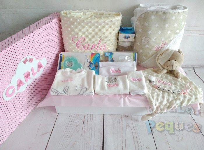 Canastilla bordada para recién nacido para el bebe beige bordada rosa medio