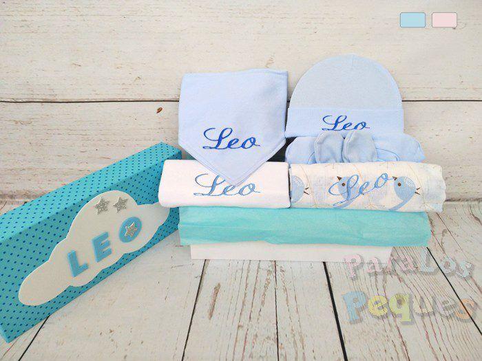 Caja regalo para bebe Peques azul