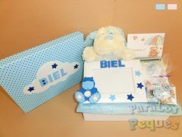 Caja regalo bebe pequemarco azul