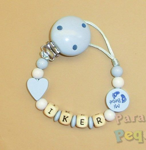 chupetero madera personalizado azul para recién nacido