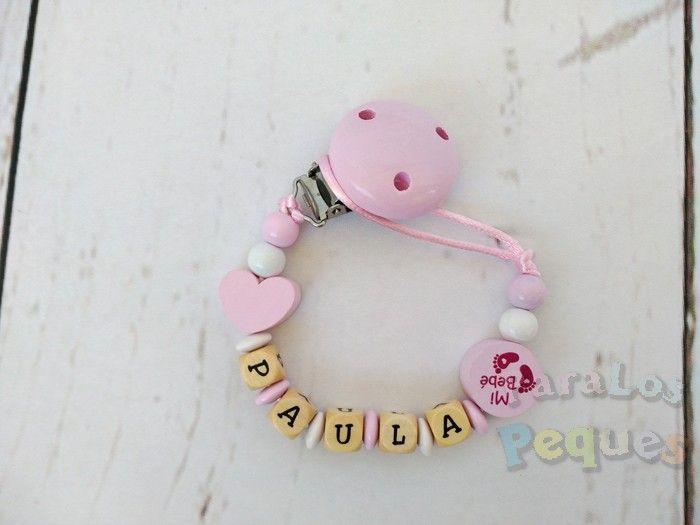chupetero madera personalizado rosa para recién nacido