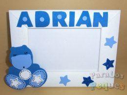 Marco fotos hipo personalizado azul bebe paralospeques
