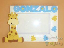 Marco fotos jirafa personalizado azul bebe paralospeques