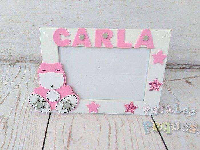 Marco fotos hipo personalizado rosa bebe paralospeques