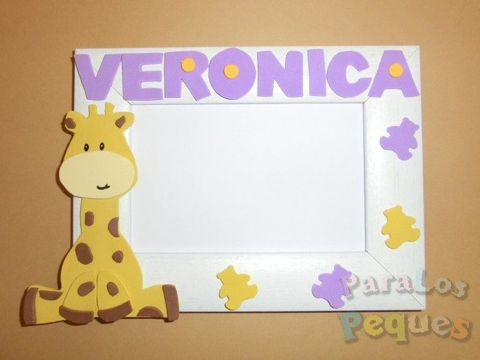 Marco fotos jirafa personalizado lila bebe paralospeques
