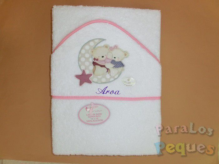 Capa de baño para bebe luna rosa bordada rosa
