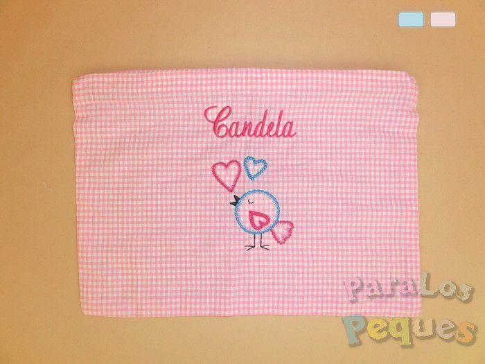 Bolsa de mudas rosa para bebe bordada