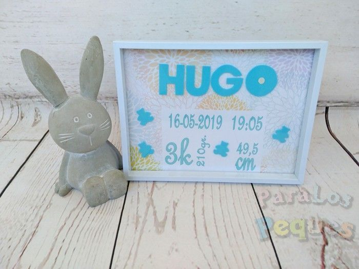 Cuadro nacimiento osos bebe personalizado Hugo Paralospeques