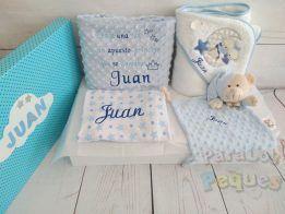 Canastillas recién nacidos abrigo azul bordada Azul oscuro