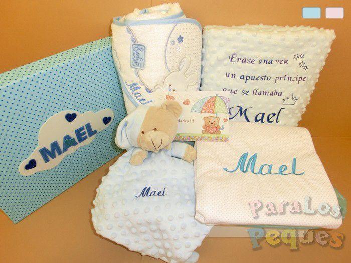 Canastillas recién nacidos abrigo azul bordada