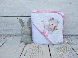 Capa de baño para bebe osita blanca y rosa bordada rosa medio
