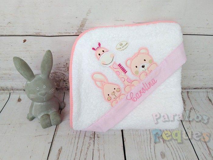 Capa de baño para bebe bordada jirafa rosa