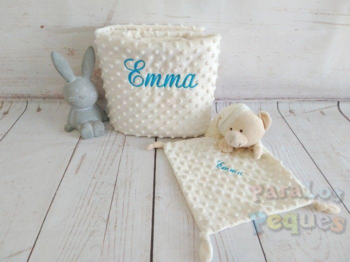DouDou y Manta beige bordado turquesa para bebe