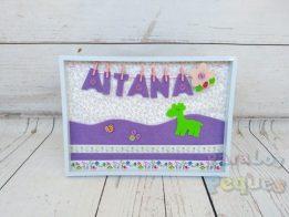 Cuadro lila bebe personalizado Aitana Paralospeques