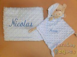 DouDou y Manta azul bordado para bebe