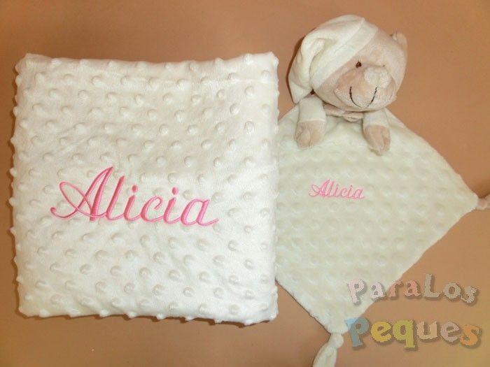 Regalo para bebe. DouDou y Manta beige bordado rosa medio para bebe