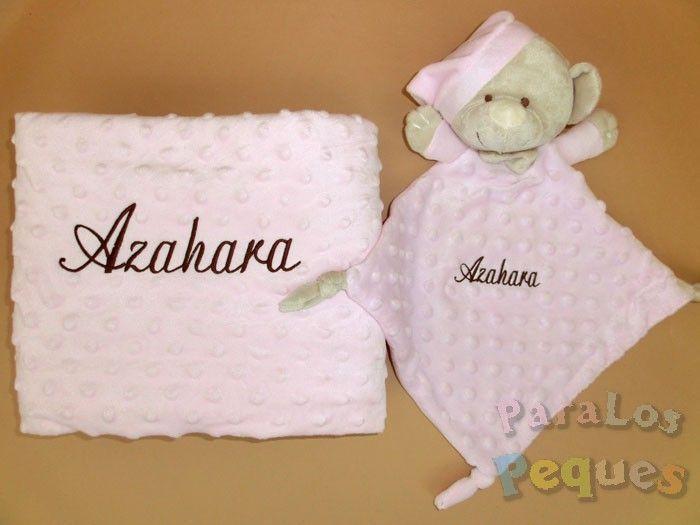 DouDou y Manta rosa bordado chocolate para bebe
