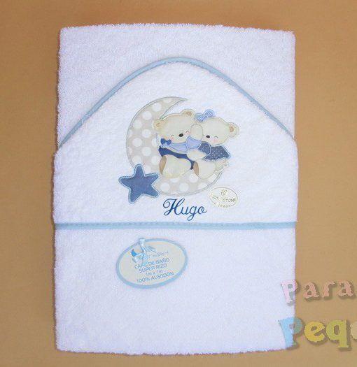 Capa de baño para bebe luna azul bordada azul oscuro