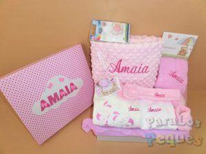 Canastillasbebe hospital rosa bordada fucsia