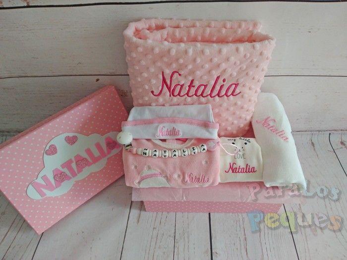 Canastillas bebe hospital rosa bordada en rosas