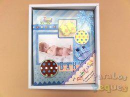 Álbum y libro de recuerdos para recién nacido azul