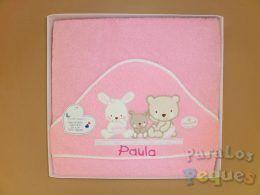Capa de baño para bebe bordada amiguitos rosa