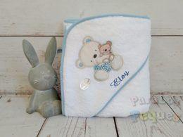 Capa de baño para bebe osita blanca y azul bordada azul oscuro
