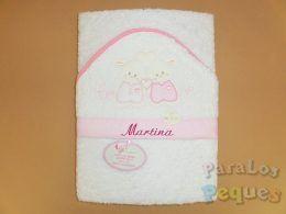 Capa de baño para bebe amigos rosa bordada fucsia