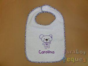 Babero bordado bebe oso morado para guardería y colegio