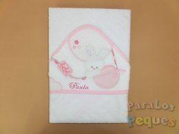Capa de baño para bebe globo rosa bordada fucsia