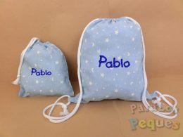 Mochila hilos y bolsa merienda bordada azul para guardería y colegio. Conjunto regalo guardería.