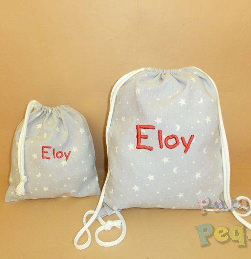 Mochila hilos y bolsa merienda bordada gris para guardería y colegio. Conjunto regalo guardería.
