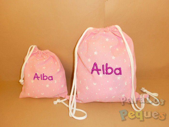 Mochila hilos y bolsa merienda bordada rosa para guardería y colegio. Conjunto regalo guardería.