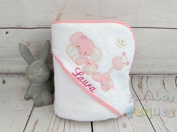 Capa de baño para bebe zoo rosa bordada violeta