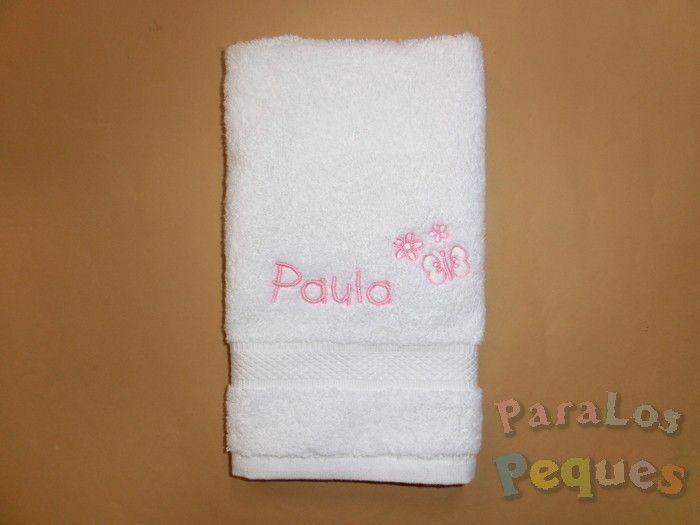 Toalla de guardería bordado bebe rosa para guardería y colegio