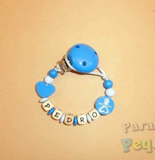 chupetero madera personalizado azulón para bebe