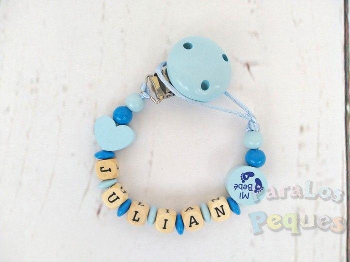 chupetero madera personalizado azul mixto para bebe