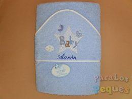 Capa de baño para bebe bordada estrella azul bordada en azul oscuro