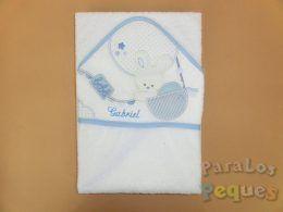 Capa de baño para bebe globo azul bordada turquesa