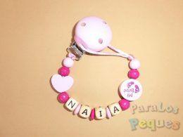 chupetero madera personalizado rosa mixto para bebe
